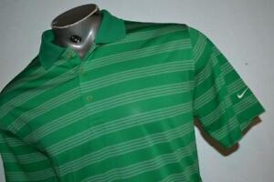 26978-a Mens Nike Golf Polo Shirt Size Large Tour Performance Green Striped