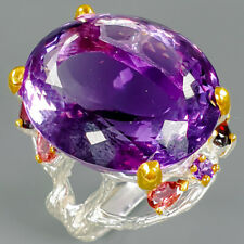 Whosale Factory Set Natural Amethyst 925 Sterling Silver Ring Size 9/R86788