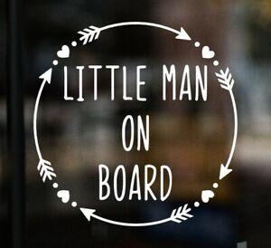 Little Man on Board Car Window Glass Sticker Vinyl Decal Child Van Sign Hearts