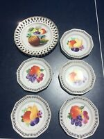 Lot of Antique Vintage Schumann Hand Painted Plates Bavaria Germany Fruits