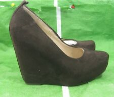 "new ladies dark Brown 5""Wedge Heel 1.5""Platform round toe Sexy Shoes Size 7.5"