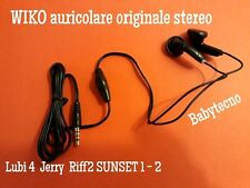 AURICOLARE ORIGINALE WIKO SUNSET 2 JERRY Stereo  Riff Sunset 1 Lubi 4 NERO BLACK