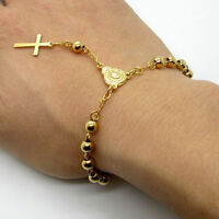 Hot Sale Stainless Steel Bead Bracelet With Cross Pendant Jesus Rosary Bracelets