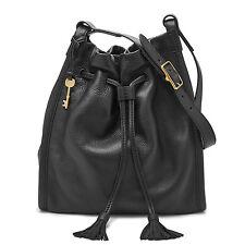 Fossil Authentic ZB7109001 Claire Drawstring Shoulder Black Leather Women' Bag