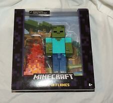 "NEW Minecraft Zombie in Flames Action Figure 5"" Large Figure Alex Steve"