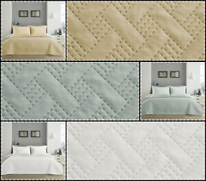 3 Piece Basket Weave Quilted Bedspread Throw & Pillow Shams Double King Size