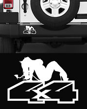 PIN UP 4X4 POUR JEEP WILLYS OFF ROAD RANGE ROVER TRUCK BLANC 17cm STICKER PC012
