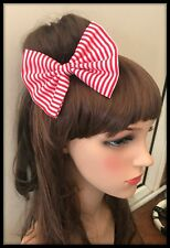 Red White Stripes Fabric Bow Bobbles Anchor Sailor Costume Hair Tie Band Alice