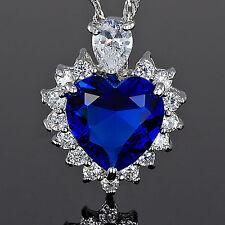 Xmas Wedding Jewel Heart Cut Blue Sapphire White Gold Plated Gp Pendant Necklace