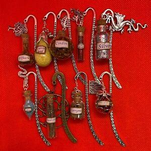 Farseer Inspired Metal Bookmark [Robin Hobb] Magic Vial Bottle w/ Charm - NEW