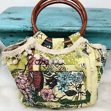 Vintage Barkcloth Purse Bag Bamboo Handles City Scene Floral Pink Blue Yellow