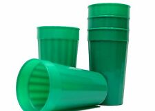 6 Large 32 Ounce Green Fluted Tumblers Mfg. USA, Dishwasher Safe Top Shelf