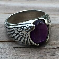 Large Eagle Wing Ring .925 Sterling Silver Sz 9 with Genuine Amethyst Gemstone