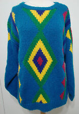 Ann Miller Wardrobe Vintage Multi-Colored Turquoise Aztec Print Sweater L