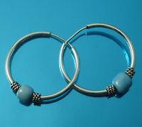 Solid 925 Sterling Silver 18mm Hoop Sleeper Earrings with  Moving Bead Balls