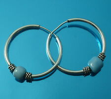 Solid 925 Sterling Silver 18mm Hoop Sleeper Earrings with  Moving Bead Balls