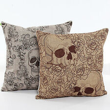 2 PCS Sugar Skull Rose Mexican Day Of The Dead Pillow Case Cushion Cover Y2DS2