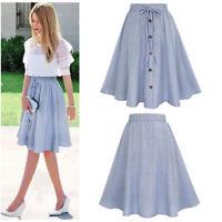 Summer Women Stripe Single-breasted Lace High Waist Plain Skater Flared Skirt