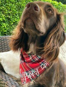 Personalised Handmade Tartan Dog Bandana over collar, slide on, Neckerchief Gift