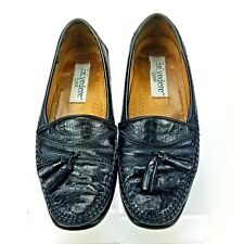 BELVEDERE Mens shoes  OSTRICH Leather Black Tassel Loafers 7.5 M
