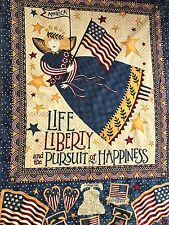 """Quilt Fabric Life,Liberty,Pursuit of Happiness by Debbie Mumm Panel 27"""" x 44"""""""