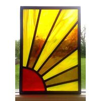 Stained glass Sunshine Window Panel hand crafted, Traditional, Commissioned