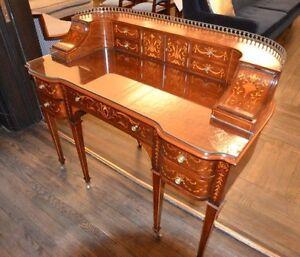 WOW! 19th Century mahogany Carlton Desk inlaid, glass writing surface