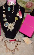 3PC BETSEY JOHNSON CRYSTAL FLORAL SHELL NECKLACE CONCH SHELL EARRINGS BRACELET