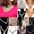 Fashion Women Pendant Chain Choker Chunky Pearl Statement Bib Necklace Jewelry A