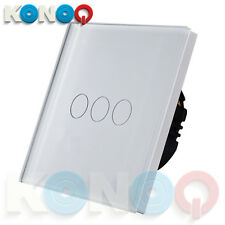KONOQ Luxury Glass Panel Touch LED Light Wall Switch : ON/OFF, White, 3Gang/1Way