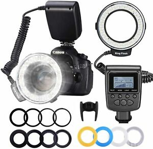 HD-130 Macro 48 LED Ring Flash Light LEDS LCD Display Power Control Adapter Ring