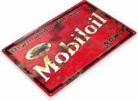 Mobiloil Motor Oil Gas Oil Garage Auto Shop Rustic Metal Decor Sign