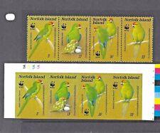 NORFOLK ISLAND BIRDS Strip SG 425a Sc 421 IMPERF CYLINDER Block. UNIQUE Rarity !