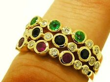 R159 Genuine 9K Gold NATURAL Diamond Sapphire ONLY Eternity Ring Trilogy size N