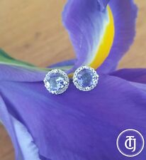0.80tcw Tanzanite & 0.10tcw Diamond Stud Earrings in 18ct 18k White Gold by CTJ