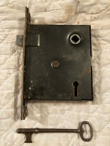 Unmarked Mortise Door Lock & Key, Worn Brass Wash Face, Free S/H