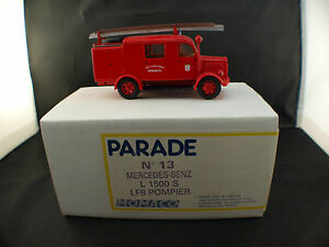 Parade N°13 Mercedes L1500S LF8 Van Firefighters Keskastel Box New 1/43