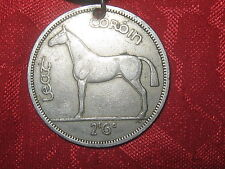 VINTAGE ANTIQUE SILVER  CELTIC IRELAND IRISH HORSE/HARP COIN  PENDANT NECKLACE