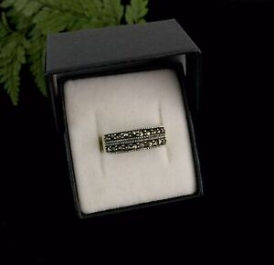 Vintage Inspired Solid Sterling Silver 925 Marcasite Band Ring
