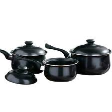6PC NON STICK COOKWARE SET SAUCE PAN POT LID KITCHEN FRY PAN FRYING LIDS BLACK