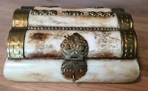 Vintage Small Bone Brass Trinket Box