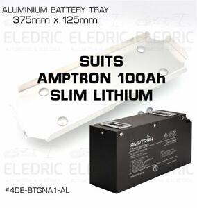 Dual Battery Tray Aluminium Base suits AMPTRON 100Ah Slim Lithium 375 x 125
