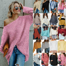 Womens Off Shoulder Long Sleeve Warm Sweater Pullover Loose Knitted Jumper Tops
