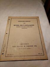 Hough Ha C Payloader Operating Manual 1954 Hac 54