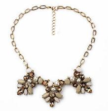 Retro Elegant Jewelery Pearl Resin Leaf Flower Multi Pendant Choker Bib Necklace