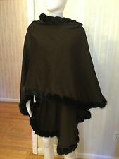 St. John Mink Shawl Cape Wrap Dark Brown One Size