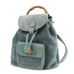 GUCCI Bamboo Used Backpack Hand Bag Turquoise Blue Suede Vintage Auth #AD415 S