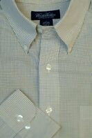Brooks Brothers Men's Yellow Blue Check  Cotton Casual Shirt Large L