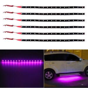 Purple 6pcs 30CM/15 LED Car Motors Truck Flexible Strip Light  Waterproof 12V