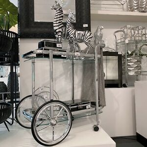 Silver BAR CART CLEAR Glass Drinks Trolley With Big Wheel (Gold Available)